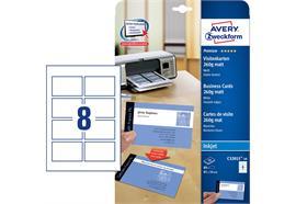80 Premium Visitenkarten, glatte Kanten, 260 g/m2, 85x54 mm, beidseitig, Inkjet
