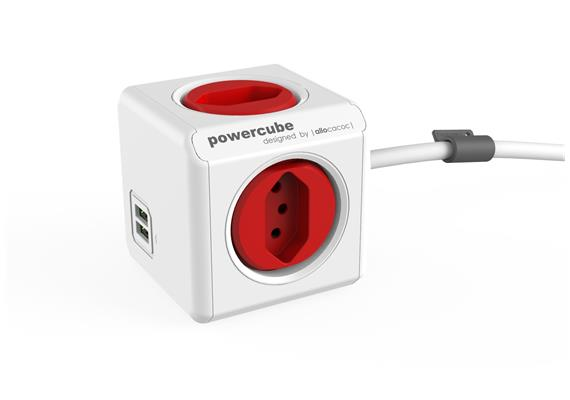 Allocacoc PowerCube Extended USB - rot