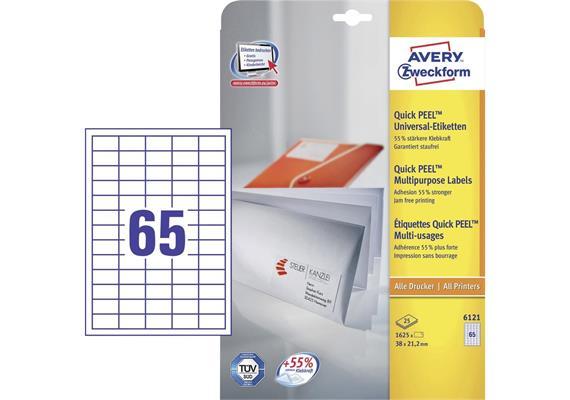AVERY Zweckform Universal-Etiketten, 38 x 21,2 mm, weiß (6121)