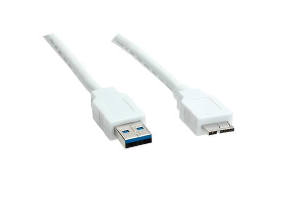 BLANK USB 3.0 Kabel, Typ A ST-Micro A ST, weiss, 2m