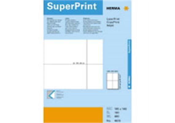 HERMA SuperPrint Etiketten. 105x148mm, ohne Rand, weiss, 100 Etiketten, (5063)
