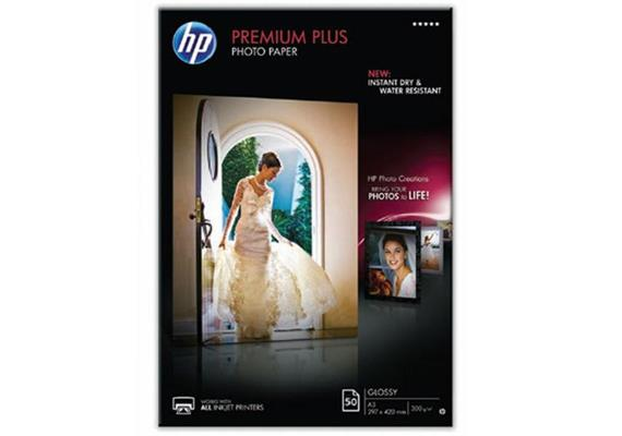 HP Fotopapier Premium Plus A4 CR674A | Fotopapier | glänzend |wasserdicht | 300g | 50 Stk.