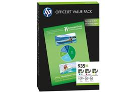 HP OfficeJet Value Pack 935XL - C/M/Y (F6U78AE) mit Papier 25x Prof Ink 180g, 50x AIO 80g