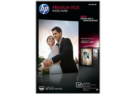 HP Premium Plus Photo Papier | 10x15cm | 300g | 25 Blatt | wisch- und wasserfest | InkJet
