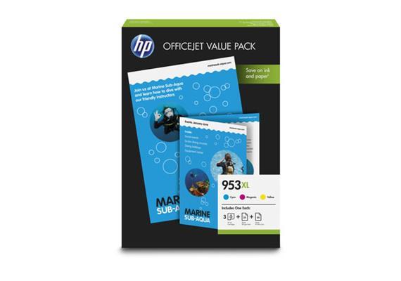 HP Valuepack 953XL CMY 1CC21AE Prof./AIO Paper A4 25/50 Blatt