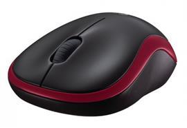 Logitech M185 wireless Mouse, rot, USB, 2.4GHz,verstaubarer Nano Empfänger