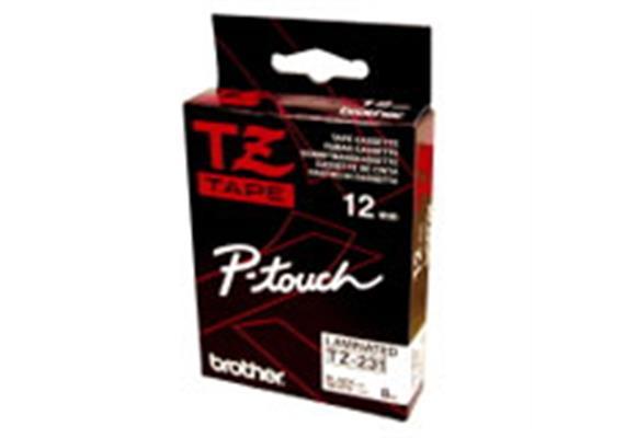 Schriftband Brother P-Touch TZ-231, schwarz/weiss 12mm, zu 220 / 550 / 1250 / 1800E / 9200