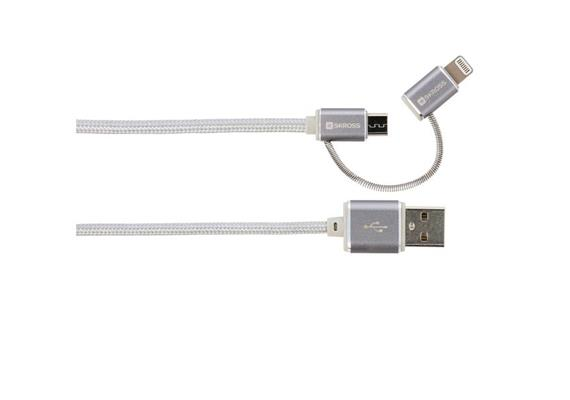 SKROSS 2in1 Charge'n Sync Micro USB & Lightning Connector - Silber