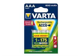 Varta Akku AAA, Spannung: 1.2 V, Kapazität: 800 mAh, Akkutyp Bauform: AAA,